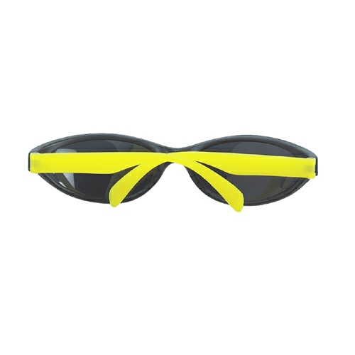 Neon Yellow Wave Rubberized Sunglasses as seen from the front