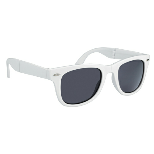White Folding Malibu Sunglasses as seen from the front