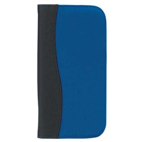 Royal Blue Microfiber Travel Wallet With Embossed PVC Trim  as seen from the front