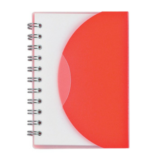Frost Red Mini Spiral Notebook as seen from the front