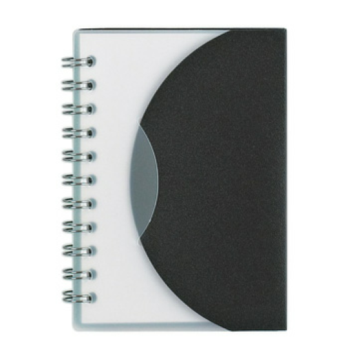 Frosted Black Mini Spiral Notebook as seen from the front