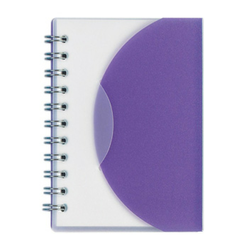 Frosted Purple Mini Spiral Notebook as seen from the front