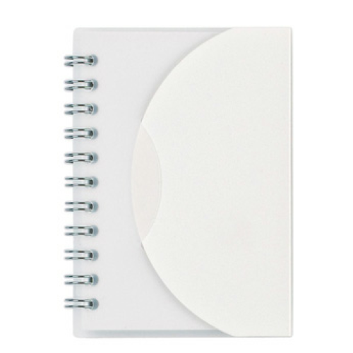 Frosted White Mini Spiral Notebook as seen from the front