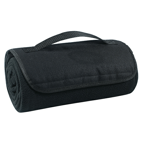Black Roll-Up Blanket as seen from the front