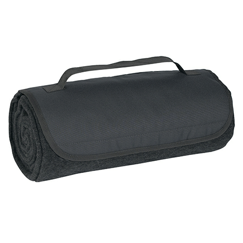Charcoal Roll-Up Blanket as seen from the front