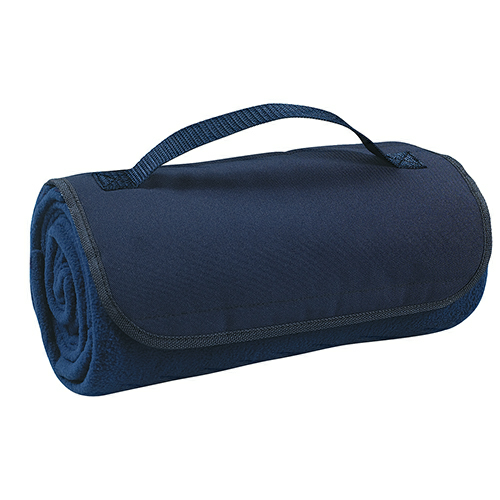 Navy Roll-Up Blanket as seen from the front