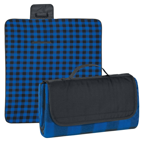 Black Flap/ Blue And Black Plaid Roll-Up Picnic Blanket as seen from the front