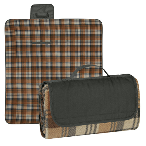 Black Flap/brown And Black Plaid Roll-Up Picnic Blanket as seen from the front