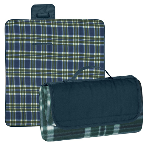 Navy Flap/ Green And Navy Plaid Roll-Up Picnic Blanket as seen from the front