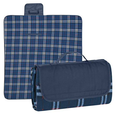 Navy Flap/ Navy And White Plaid Roll-Up Picnic Blanket as seen from the front