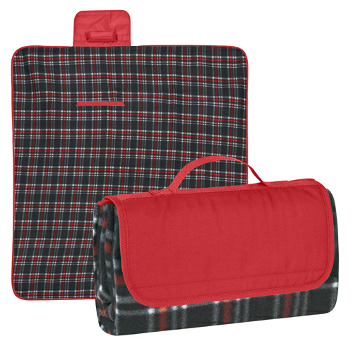 Red Flap/black And Red Plaid Roll-Up Picnic Blanket as seen from the front