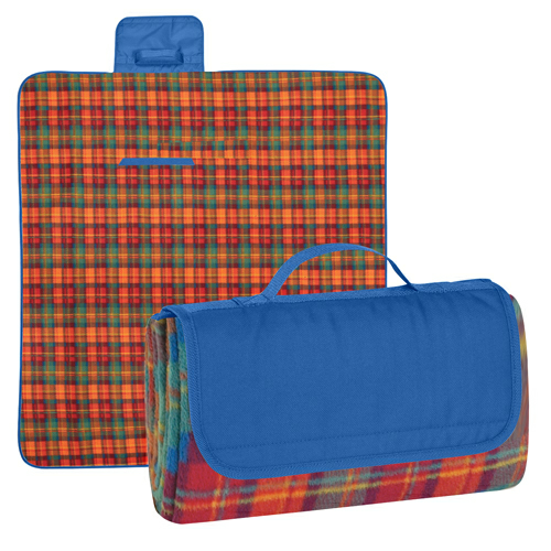 Royal Blue Flap/ Orange Plaid Roll-Up Picnic Blanket as seen from the front