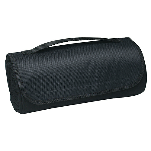Black Sweatshirt Roll-Up Blanket as seen from the front