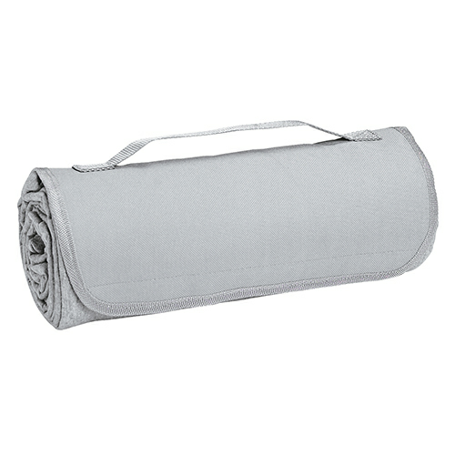 Heather Gray Sweatshirt Roll-Up Blanket as seen from the front