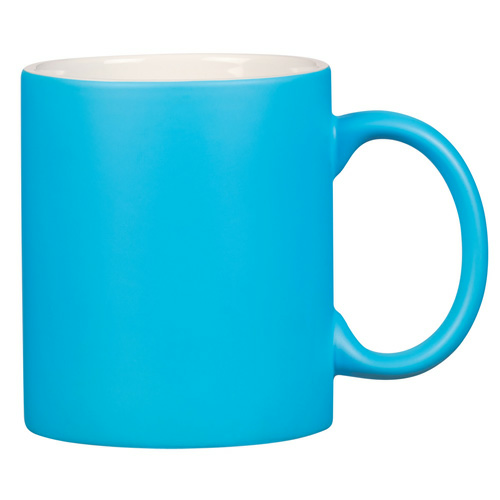 Blue 11 Oz . Neon Mug With C-Handle as seen from the front