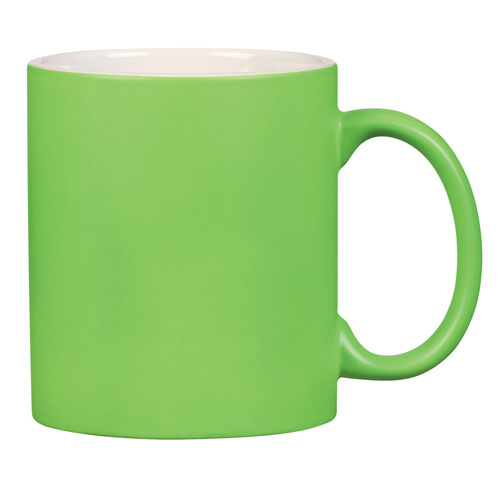 Green 11 Oz . Neon Mug With C-Handle as seen from the front