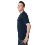 Midnight Unisex Bamboo Organic Cotton Tee as seen from the sleeveleft
