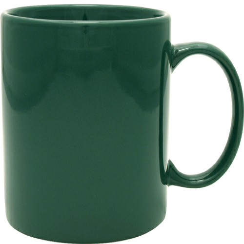 Green 11 oz. Ceramic Mug as seen from the front