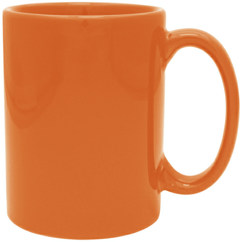 Orange 11 oz. Ceramic Mug as seen from the front
