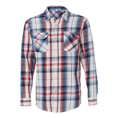 Long Sleeve Plaid Shirt - Embroidered