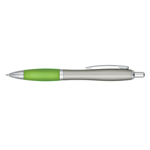 Silver Lime Satin Pen as seen from the front