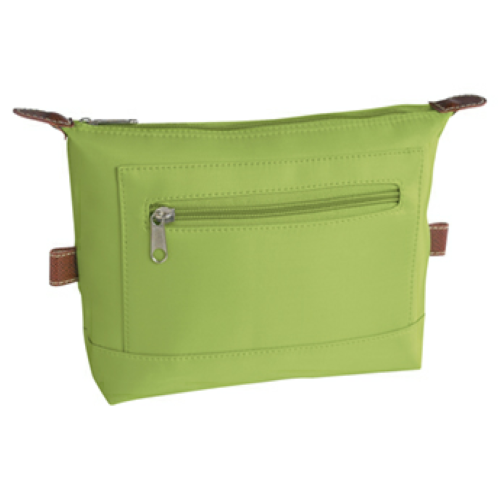 Lime Green Microfiber Cosmetic Bag as seen from the front