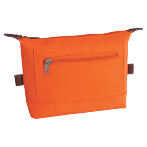 Orange Microfiber Cosmetic Bag as seen from the front