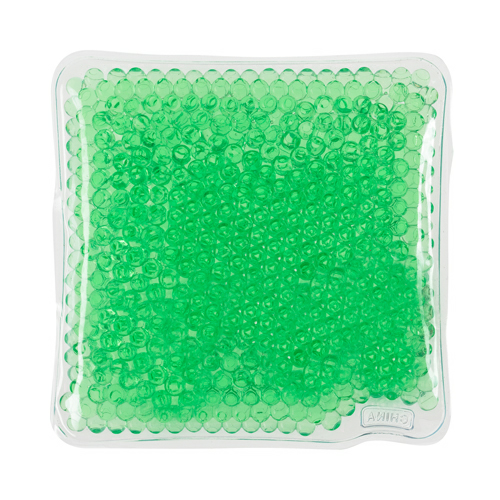 Green Square Gel Beads Hot/Cold Pack as seen from the front