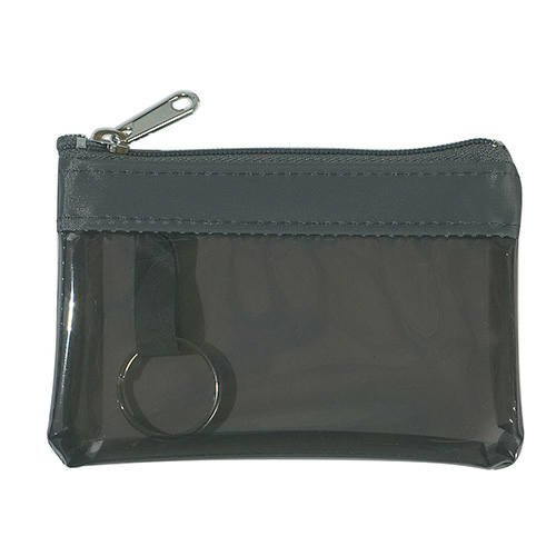Translucent Charcoal Translucent Zippered Coin Pouch as seen from the front