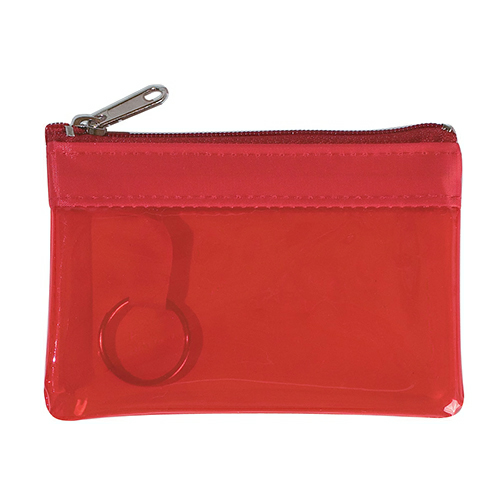 Translucent Red Translucent Zippered Coin Pouch as seen from the front