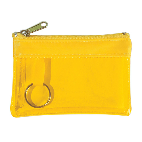 Translucent Yellow Translucent Zippered Coin Pouch as seen from the front