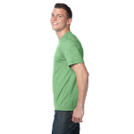 Heather Kiwi Unisex Organic RPET Blend Tee as seen from the sleeveleft