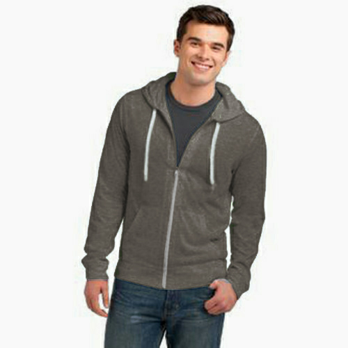 Heather Coal Organic RPET Fleece Zip Hoody as seen from the front
