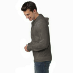 Heather Coal Organic RPET Fleece Zip Hoody as seen from the sleeveleft