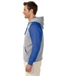 Oxford Royal 8 oz., 50/50 NuBlend® Colorblock Raglan Pullover Hood as seen from the sleeveright