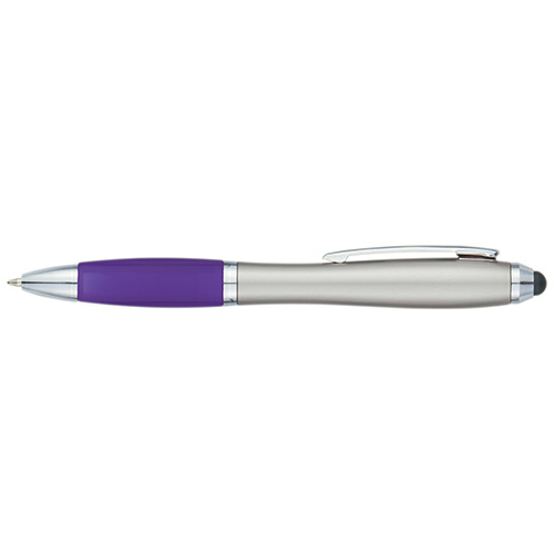 Silver Purple Satin Stylus Pen as seen from the front