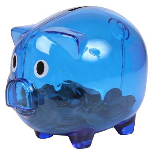 Translucent Blue Translucent Piggy Bank as seen from the front