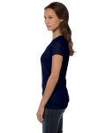 Navy Ladies' Jersey Short-Sleeve V-Neck T-Shirt as seen from the sleeveright