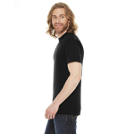 Black MADE IN USA Unisex Poly-Cotton Short-Sleeve Crewneck as seen from the sleeveright