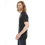 Heather Black MADE IN USA Unisex Poly-Cotton Short-Sleeve Crewneck as seen from the sleeveright