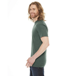 Heather Forest MADE IN USA Unisex Poly-Cotton Short-Sleeve Crewneck as seen from the sleeveright