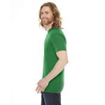 Hthr Kelly Green MADE IN USA Unisex Poly-Cotton Short-Sleeve Crewneck as seen from the sleeveright