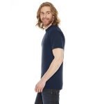 Navy MADE IN USA Unisex Poly-Cotton Short-Sleeve Crewneck as seen from the sleeveright