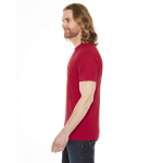 Red MADE IN USA Unisex Poly-Cotton Short-Sleeve Crewneck as seen from the sleeveright