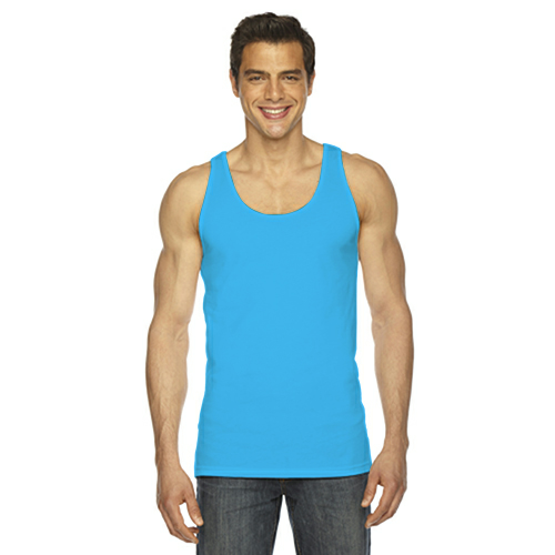 Neon Heather Blue MADE IN USA Unisex Poly-Cotton Tank as seen from the front