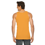 Neon Heather Orange MADE IN USA Unisex Poly-Cotton Tank as seen from the back