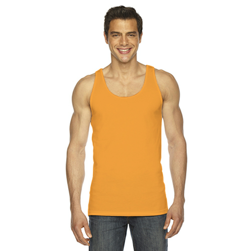 Neon Heather Orange MADE IN USA Unisex Poly-Cotton Tank as seen from the front