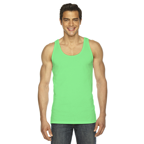 Neon Green MADE IN USA Unisex Poly-Cotton Tank as seen from the front