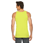 Neon Yellow MADE IN USA Unisex Poly-Cotton Tank as seen from the back
