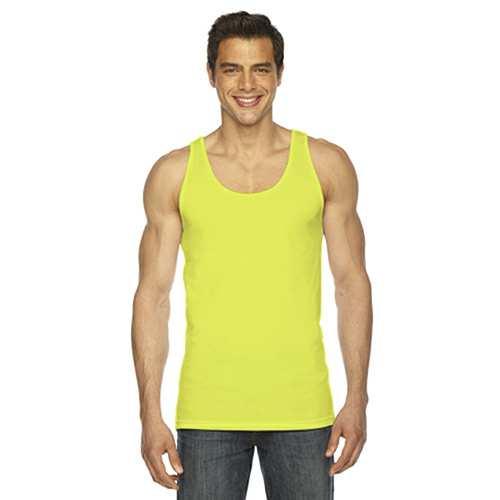 Neon Yellow MADE IN USA Unisex Poly-Cotton Tank as seen from the front